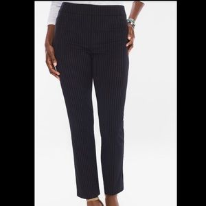 CHICO'S PINSTRIPED PONTE TAPERED ANKLE PANTS